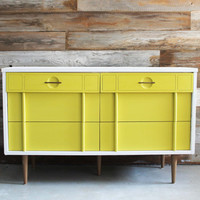 Vintage Painted White and Mustard Yellow MCM Mid Century Modern Dresser / Chest of Drawers / Changing Table / Media Console / TV Stand