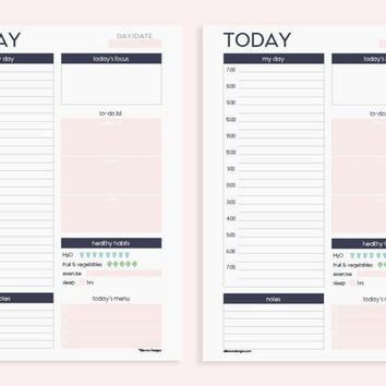 A5 Printable Insert Refill Daily Planner with SCHEDULE (also fits kikki.k PERSONAL Planner & Time Planner LARGE)-Undated (Audrey Collection)