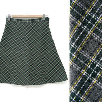 Vintage Plaid Skirt~Size Small~Waist 26~70s 80s 90s Circle A-Line High Waisted Striped Grey Green Yellow White Skirt~By True Grits Uniforms