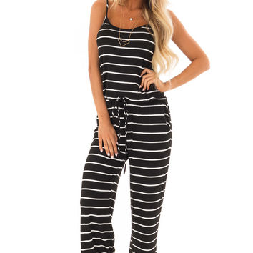 Black Striped Spaghetti Strap Jumpsuit with Waist Tie