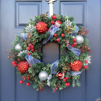 Red Silver Christmas Wreath Holiday Door Wreaths Red Silver Decor Evergreen Wreaths Door
