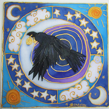 Animal guide, mandala art, The Raven, raven art, shamanic art, pagan art, spiritual, meditation art, metaphysical
