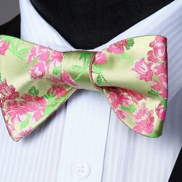 Green Pink Flower Silk Self Bow Tie Pocket Square