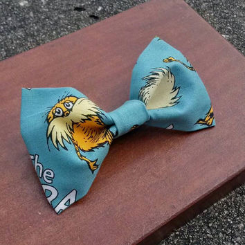 Dr. Suess The Lorax I Speak For The Trees Teal Truffula Trees Hair Bow or Bow Tie