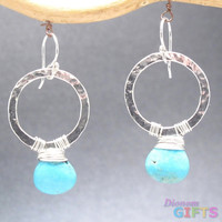 """Heavy gauge hammered circles wrappedwith sleeping beauty turquoise, 1-1/2"""" Earring Gold Or Silver"""