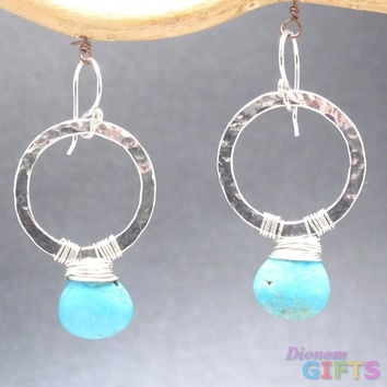 "Heavy gauge hammered circles wrappedwith sleeping beauty turquoise, 1-1/2"" Earring Gold Or Silver"