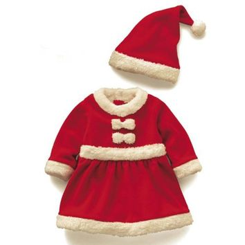 Christmas Baby Santa Claus Costume Baby Cosplay Winter Romper Long Sleeve Toddler Girls Red Romper Cute Infant Baby Winter Dress