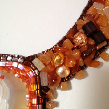 Orange and White Bead Embroidered Collar, Necklace, Carnelian nuggets, Red Jasper Nuggets, Copper Beads, Crystal Beads