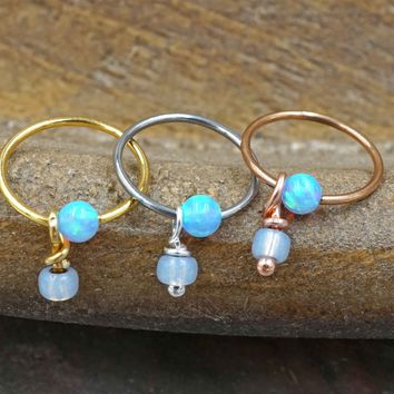 Light Blue Opal CBR Hoop Captive Bead Hoop