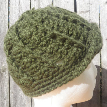 Forrest green crochet newsboy hat, unisex newsboy cap, winter hat