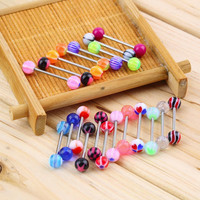 2015 Hot 20pcs/set Sexy jewelry Colorful Assorted Ball Tongue Nipple Bar Ring Barbell Piercing Tongue Body Jewelry