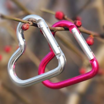 10 PC/Lot Aluminum Alloy Heart Shaped Outdoor Survival Carabiner Hook Buckle Hanging Padlock For Camping Mosqueton AA02-10P