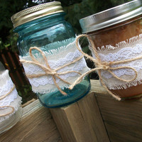 12 piece rustic lace and twine ribbon set for mason canning jars, wedding favors, baby showers,  precut pieces