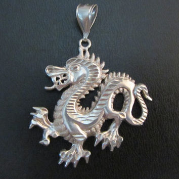 Sterling Silver Dragon Pendant 9.52g
