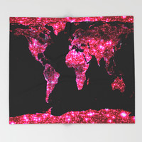 World Map : Pink Galaxy Sparkle Throw Blanket by Whimsy Romance & Fun