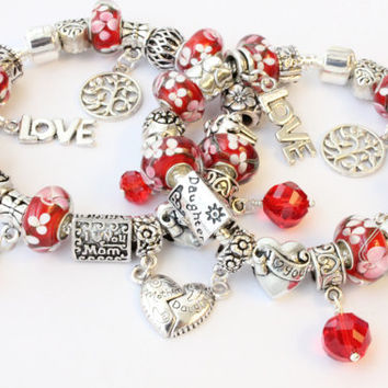 Mother Daughter set of 2 European charm bracelets red beads Tree of Life I love you Mom charms red crystal dangles Mothers Day gift for her