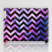 Girly Chevron Pattern Cute Pink Teal Nebula Galaxy iPad Case by Girly Trend
