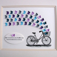 INTRO OFFER Vintage Bicycle & 3D Mini Butterflies Word Art. Life is Not Measured by Breaths But by Moments. 8x10