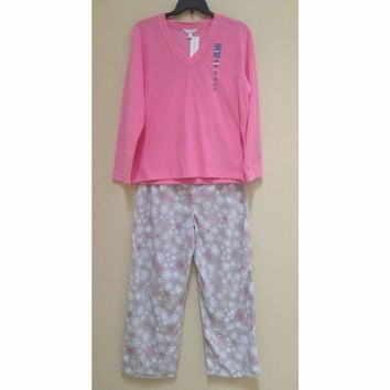 Charter Club Fleece Top and Pajama Pants Set 141147 Pink Snow Flurry XXXL