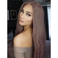 Long Ash Pink Rosy Mist Synthetic Lace Front Wig