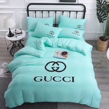 Fashion Mint Green GUCCI Blanket Quilt coverlet Pillow shams 4 PC Bedding Set