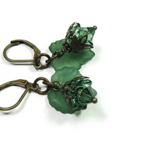 Swarovski Crystal Green Leaf Flower Earrings, Woodland Jewelry, Antiqued Brass Jewelry, Gifts for Gardeners, Colorful Earrings, Boho Chic