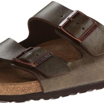 Women's Arizona Sandal in Golden Brown with Soft Footbed by Birkenstock