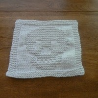 Wonderfully White Hand Knit Cotton Skull Dishcloth or Washcloth