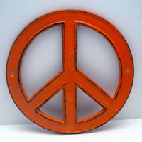 Peace Sign Orange Cast Iron Circle Wall Decor Rustic Retro Funky 70's Style Shabby Chic Distressed Weathered Wall Art Sign