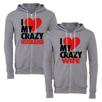 i heart my crazy wife i heart my crazy husbond matching couple zipper hoodie
