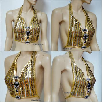 Golden Goddess Gold White Black Sequin Mesh Spandex Halter Top Crop Top Dance Rave Bra