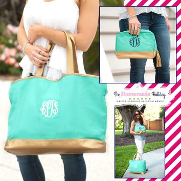 Mint and Gold Cabana Tote with matching Make Up Bag