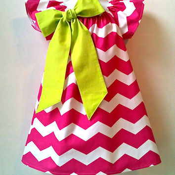 Girls Dress Chevron Dress Hot Pink Lime Bow Made to Order Sizes 2T - 6 by 8th Day Studio COUPON CODE