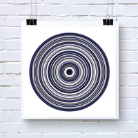 Abstract Generative Art inspired by Chemistry and Particle Physics, ringsBlue1h,  photo print, Living Room Wall art blue and grey tree rings