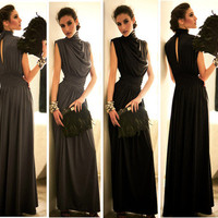 Womens Elegant High Neck Evening Gown Cocktail Party Slim Tunic Maxi Long Dress