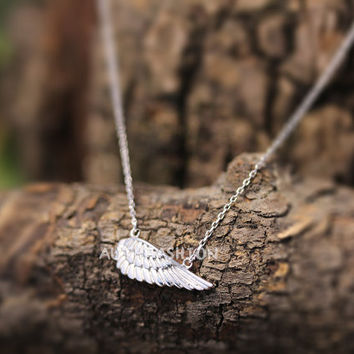 Sterling Silver Angel wing Pendant Necklace Women's Classic Jewelry