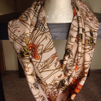 Butterfly-Infinity Scarf-Handmade Scarf-Leopard-Polyester Scarf-Gifts for her-Fall Scarf-Thanksgiving Scarf