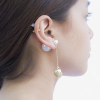 Pearl and Shell front and back drop earrings