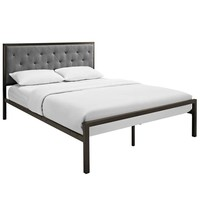 Brown Gray Mia Queen Fabric Bed