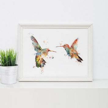 Couples Birds Wall Hanging Gift for Her for Him Valentines Hummingbird Poster Wall Art Painting Print Landscape  No Frame