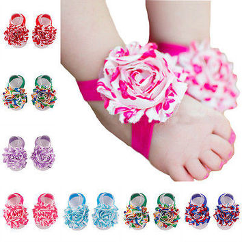 Beautiful Baby Shoes Toddler Barefoot Foot Flower Sandals Soft for 0-18M 3C&