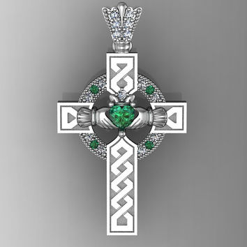 Sterling Silver Created Emerald  Ladies Celtic and Claddagh Cross Pendant