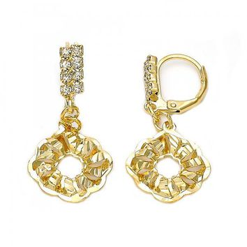 Gold Layered 5.079.008 Dangle Earring, Flower Design, with White Cubic Zirconia, Diamond Cutting Finish, Gold Tone