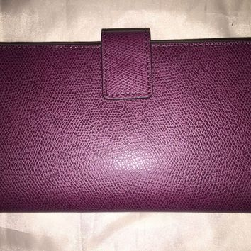 NEW! NWT MICHAEL KORS Florence Large Billfold Wallet Clutch in Plum Leather