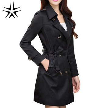 Elegant Lady Long Trench Coats Plus Size M-4XL Korean Style Double Breasted Turn-down Collar Woman Fashion Outwear Black / Khaki