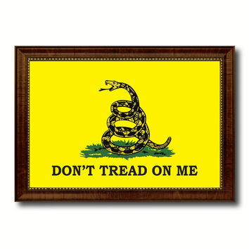 Don't Tread on Me Military Flag Canvas Print with Brown Picture Frame Home Decor Wall Art Gift Ideas