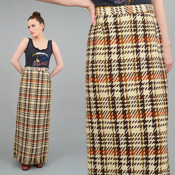 Vintage 60s Plaid Maxi Skirt High Waist Wool Skirt Fringe Hem Straight Column Maxi Skirt Cream Brown Medium M 29