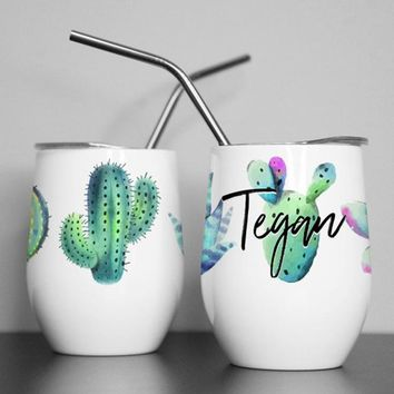 Sip Sip Olé, Cactus, Wine Tumbler, Custom Bridesmaid Gift, Desert, Bachelorette Party, Succulent, Party Decor, Insulated, Stemless, Drinkwear