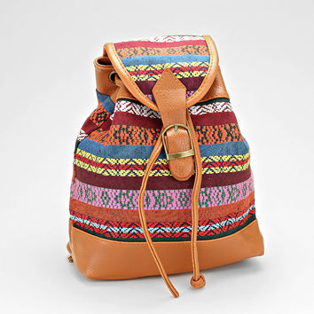 Boho Aztec Baby Backpack, Tribal Chic Buckle Leather Trim Bag - Mexican Blanket