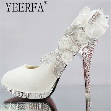YIERFA  women high heels prom wedding shoes lady crystal platforms silver Glitter rhinestone bridal shoes thin heel party pump